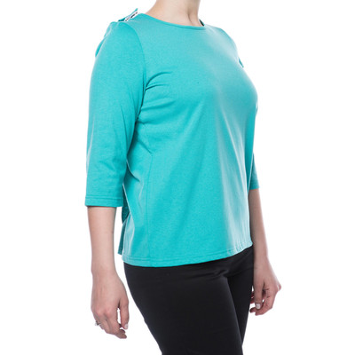 Poly/Cotton Short Sleeve Backsnap Top - Turquoise