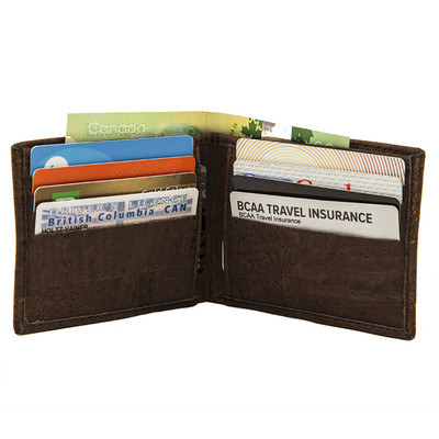CORK WALLET VEGAN SLIM BI-FOLD BROWN