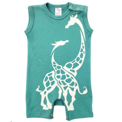 Baby Romper -  Aqua Giraffe
