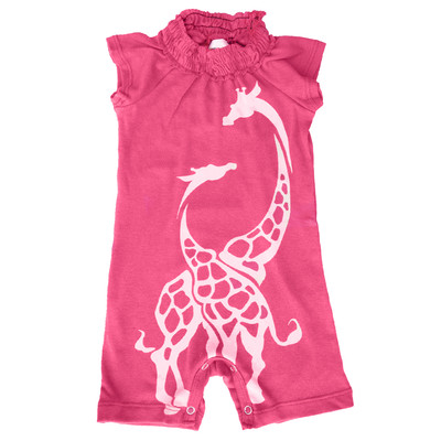 Baby Romper - Pink Giraffe
