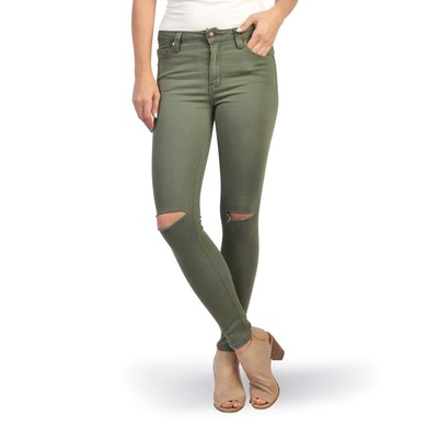 Just Black HIGHRISE SKINNY WITH KNEE SLIT IN MOSS