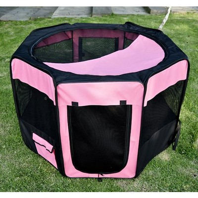 """46"""" Portable Soft Pet Playpen Crate Pink"""