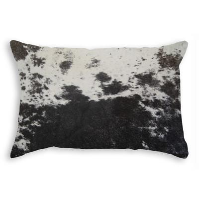 """Torino Cowhide Pillow 12"""" X 20"""" S&P/ Black & White"""