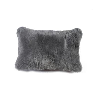 """New Zealand Sheepskin Pillow 12"""" X 20"""" Gray"""