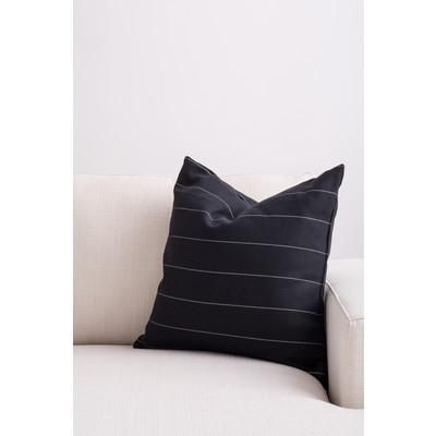 Designer Throw Cushion - Black with Gray Pinstripe