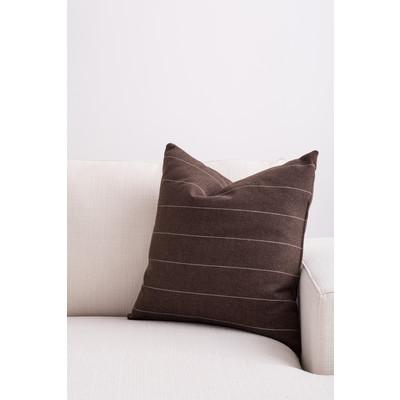 Designer Throw Cushion - Brown with Beige Pinstripe
