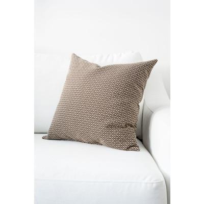 Designer Throw Cushion - Brown - Light Beige
