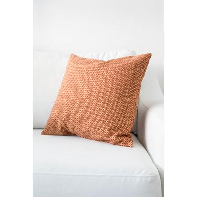 Designer Throw Cushion - Red - Beige