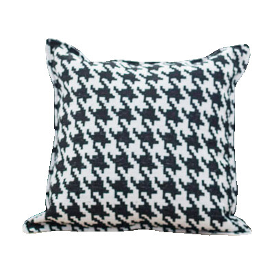 Design Throw Cushion - Black and White Houndstooth