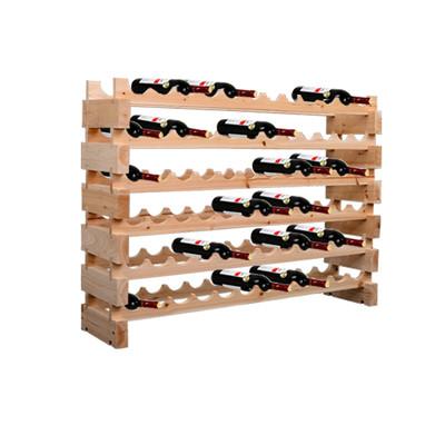 72 Bottle 6 Tier Rustic Wood Wine Rack Storage Stand