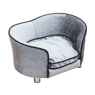 Plush Pet Sofa Bed Couch Furniture Seat Light Grey With Removable Cushion