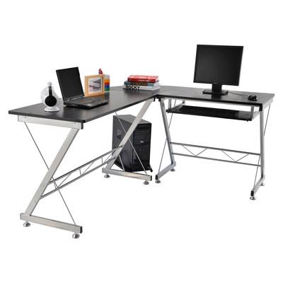 L-shaped Corner Computer Desk Table Office Workstation Black