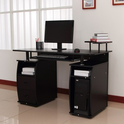 Home Office Computer Desk Table Drawer PC Cabinet With Elevated Shelf Black