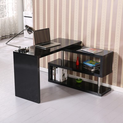 High Gloss Computer PC Desk Storage Display Shelf Wooden Bookcase Divider Black