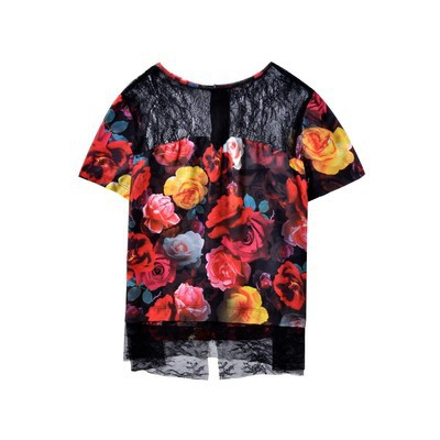 Guess FLORAL LACE BACK TOP