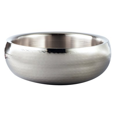 """Hammered 11"""" Round Stainless Steel Doublewall Serving Bowl"""
