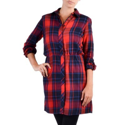 ONLY       SAMPONI PLAID SHIRT DRESS
