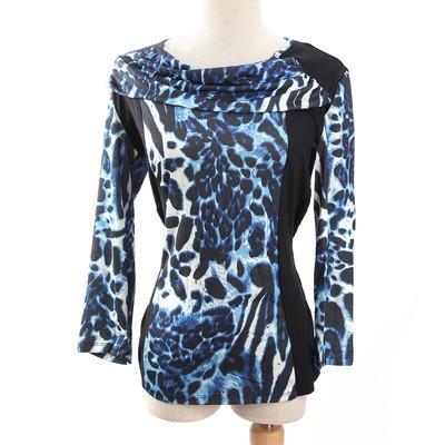Luxanne Leopard Skin Neck Shawl Blue Ladies Top