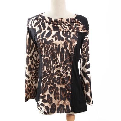 Luxanne Leopard Skin Neck Shawl Brown Ladies Top