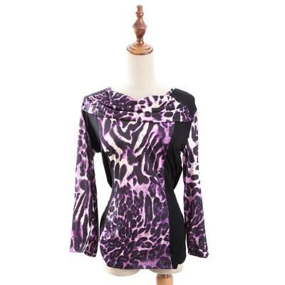 Luxanne Leopard Skin Neck Shawl Purple Ladies Top