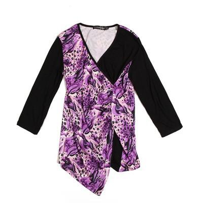 Luxanne Leopard Skin Cross Line Purple Ladies Top