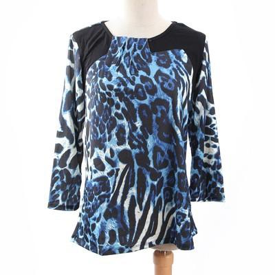 Luxanne Leopard Skin Pascal Line Blue Ladies Top
