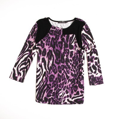 Luxanne Leopard Skin Pascal Purple Ladies Top