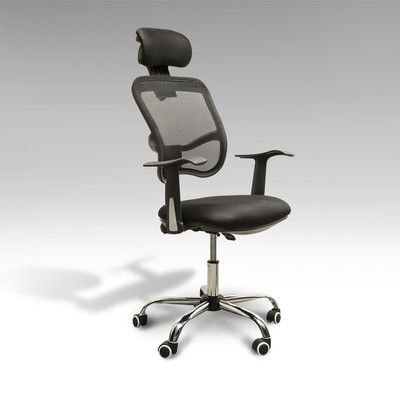 High Back Mesh Office Chair Adjustable Swivel Seat With Headrest Black
