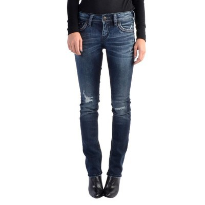 Silver Jeans SUKI MIDRISE STRAIGHT IN BLUE DESTROY