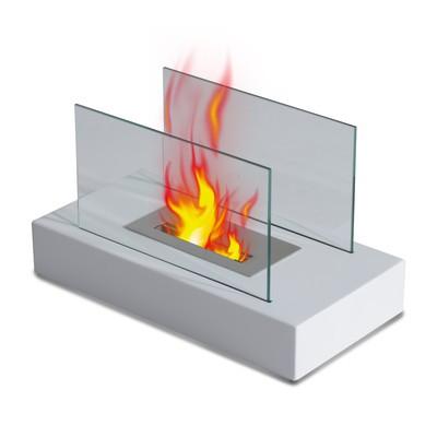 "14"" Portable Table Top Fireplace Firebox Bio Ethanol Burner Heater White"