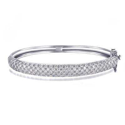 18K White Plated Swiss Cubic Zirconia Cuff Bracelet