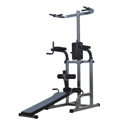 Deluxe Power Tower Dip Station Ab Work Sit-up Bench Pull Up Gym Combo Exercise