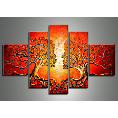 Handpainted - Red Human Tree Art Painting  113 - 60 x 36in