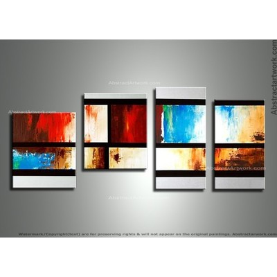 Handpainted - Abstract 4-Panel Canvas Oil Painting 154 - 52 x 24in