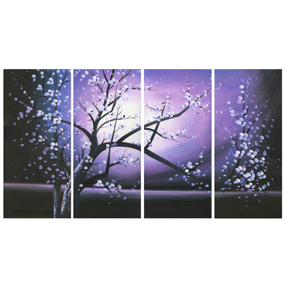 Handpainted - Purple Tree Painting with Flowers 271 - 48 x 30in