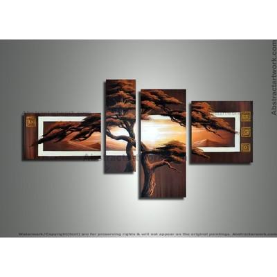 Handpainted - Africa Tree Painting Brown 290 - 56 x 36in
