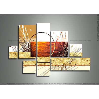 Handpainted - Abstract Art Painting - 8 Panels 295 - 57 x 36in