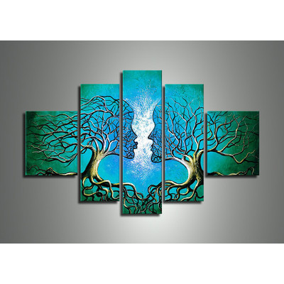 Handpainted - Blue Human Tree Painting 320 - 60 x 32in