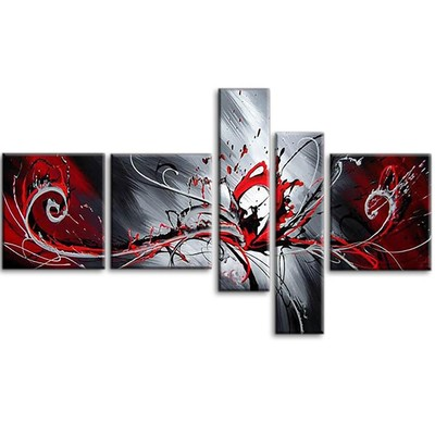 Handpainted - Large Red Abstract Painting 414 - 66 x 36in