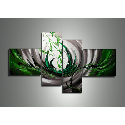Handpainted - Green Silver Abstract Painting 586 - 64 x 34in