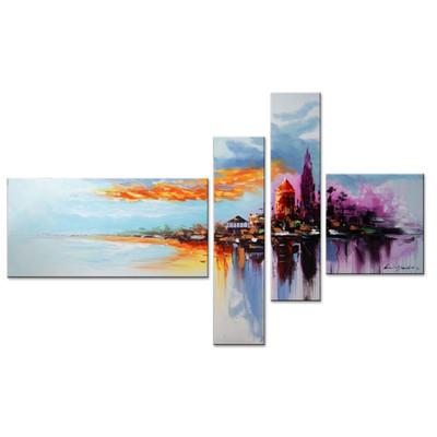 Handpainted - Modern Beachside Painting 1060 - 65x 30in