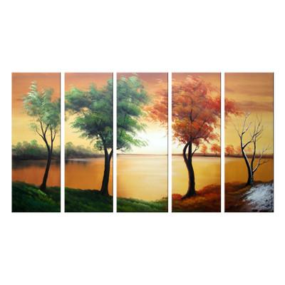 Handpainted - Green & Brown Tree Art Painting 1089 60 x 32in