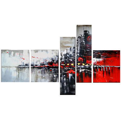 Handpainted - Red & Black Cityscape Art Painting 1101 - 63 x 33in