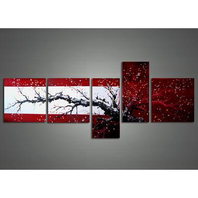 Handpainted - Red & Black Modern Tree Art Painting 1109 - 63 x 30in