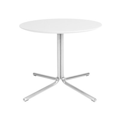 Kanto GRACE End Table with Brushed Stainless Steel Legs (Gloss White )