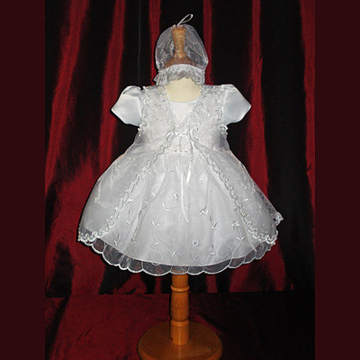 Baby White Cap Sleeve Christening Dress