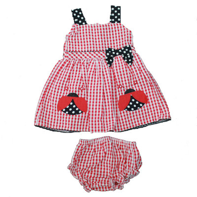 Baby / Infant Red Checkered Sun Dress with Matching Bloomers