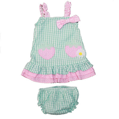 Baby / Infant Aqua Checkered Sun Dress with Matching Bloomers