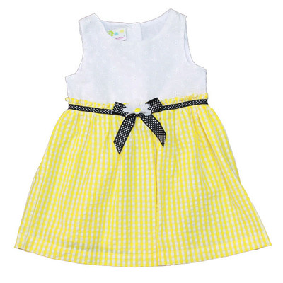 Girl's White & Yellow Sleeveless Dress with Accent Black Bow