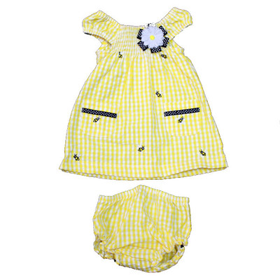 Baby / Infant Yellow Checkered Sun Dress with Matching Bloomers